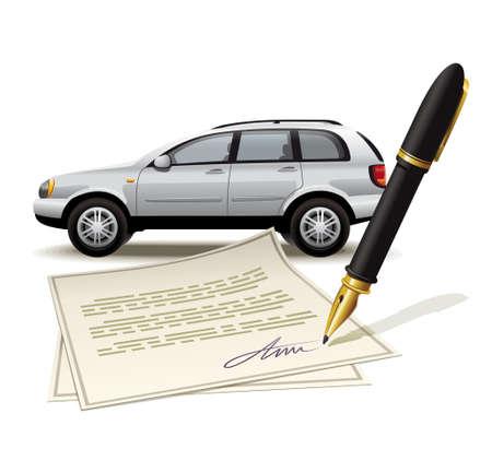 pacto: Ilustración de procesar la transacción con el vehículo mediante la firma del documento Vectores