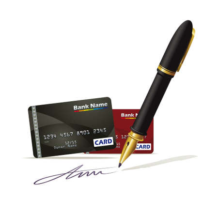 cashless payment: Illustration documenting plastic credit cards Illustration