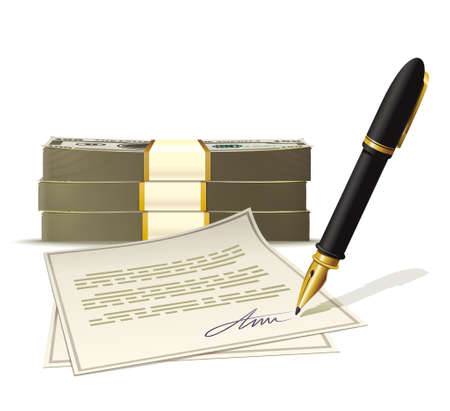 sign contract: Illustration document the receipt of cash Illustration