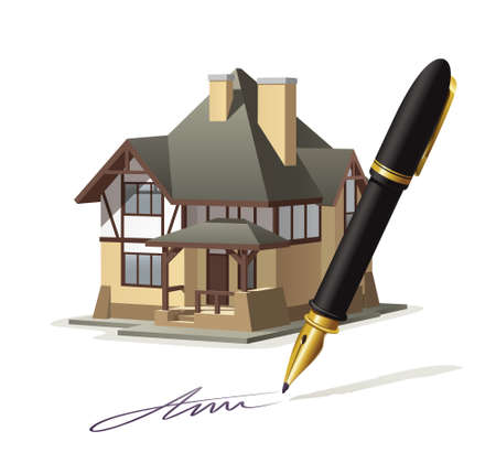 signing: Paperwork at home. Illustration documenting real estate market through the signing of the agreement.