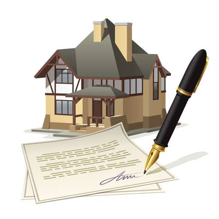 signing document: Paperwork at home. Illustration documenting real estate market through the signing of the agreement.