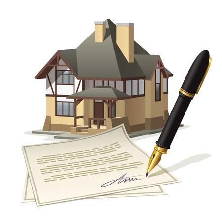 pacto: Trabajo de oficina en casa. Ilustraci�n documentar mercado de bienes ra�ces a trav�s de la firma del acuerdo. Vectores
