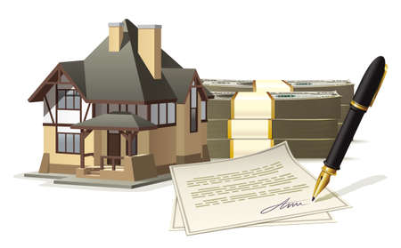 home value: Illustration of the purchase or sale of an individual house for cash with the signing of the sales contract Illustration