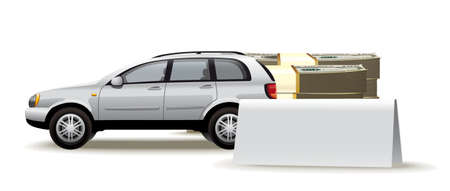 acquirement: Illustration of car and piles of cash for it with a place for an inscription Illustration