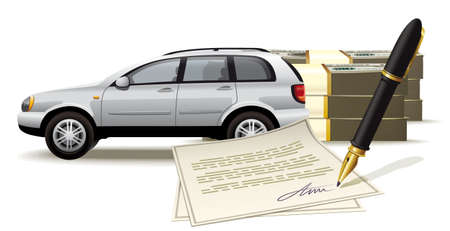 Illustration vehicle sales for a good amount of cash with the signing of relevant documents to the property Ilustração