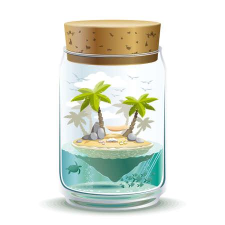 Piece of island paradise in a jar