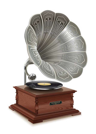 Illustration of the good old music of the gramophone. First music on vinyl. Ilustração