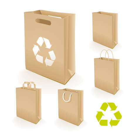 harm: Recycling paper bag. Illustration set of recycled paper bags that do not cause harm to the environment with recycling sign.