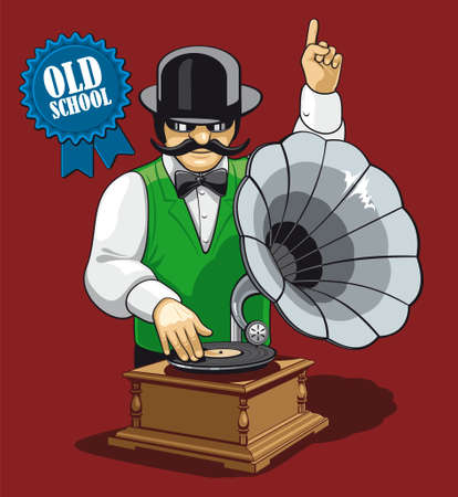 remix: Old school music  Humorous illustration of the modern DJ with equipment and clothing in the early twentieth century