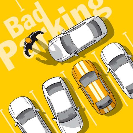 regel: Slecht parkeren. Illustratie gefrustreerde eigenaar auto die de uitgang geblokkeerd.