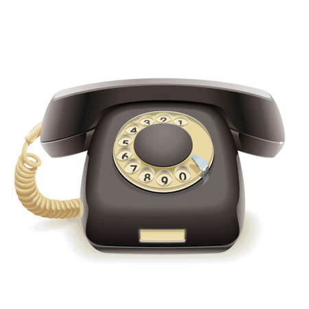Old black phone. Realistic illustration of old black disk retro phone handset to the wire. Vector