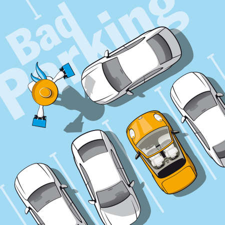 cars parking: Bad parking  Illustration frustrated car owner who locked while she went shopping