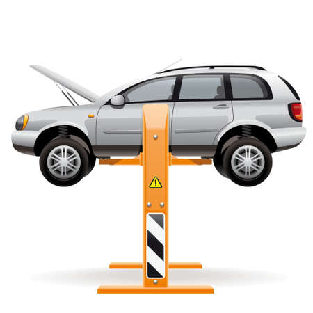 car side view: Repair car on a lift. Illustration of a car lifted off the ground with a hydraulic lift for inspection and repair of the underbody, suspension, wheels and engine.