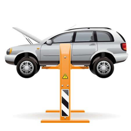 Reparar coche en un ascensor. Ilustraci�n de un coche levantado del suelo con un elevador hidr�ulico para la inspecci�n y reparaci�n de la carrocer�a inferior, suspensi�n, ruedas y el motor.