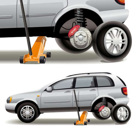 replacing: Tire repairs. Illustration of car wheel change on the service station with the jack.