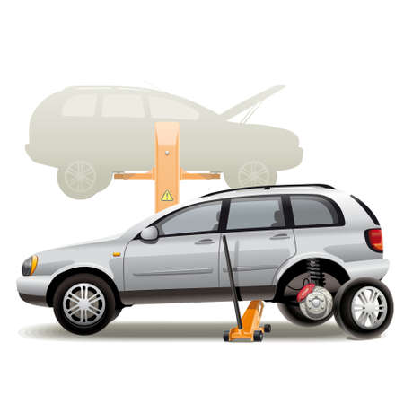 Tire repairs. Illustration of car wheel change on the service station with the jack. Vector