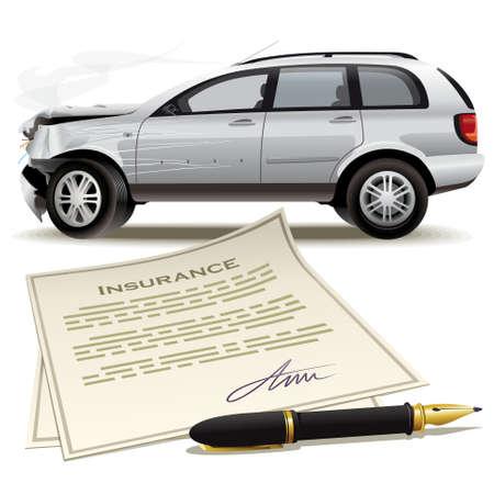 Crash autoverzekering. Illustratie van het contract van verzekering in geval van auto-ongeval.