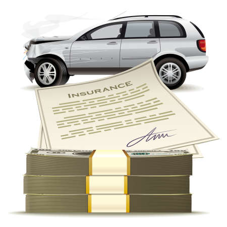 Geld für das kaputte Auto. Aktienbasierte Vergütung für Versicherungen als Folge eines Autounfalls. Vektorgrafik