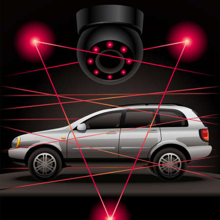 Car security. Your car is protected by a modern security system with a laser and video surveillance. Vector