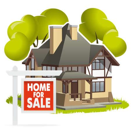 famiglia numerosa: Casa in vendita. Illustrazione accogliente casa privata per una famiglia numerosa, messi in vendita e in attesa di nuovi inquilini.