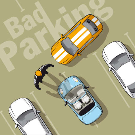 car park: Bad parking. Illustration improperly parked car because that can not park properly others.