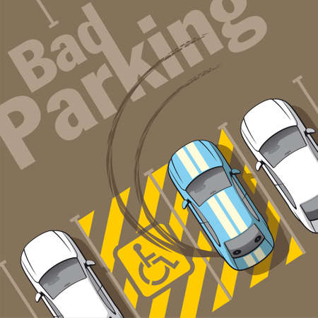 cars parking: Bad parking  Illustration of a car parked in the wrong parking for disabled  Illustration