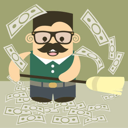 Money broom. Earn and spend money to easily and naturally! Vector
