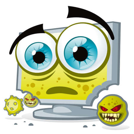infected: PC virus. Unprotected computer is infected and corrupted by viruses. Illustration