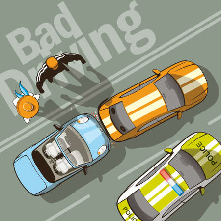 cartoon accident: Bad driving  The driver, who was driving behind, had no time to brake  Illustration