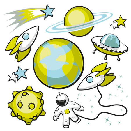 alien planet: Cartoon set of space objects on a white background