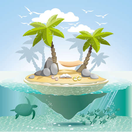 atoll: Paradise island to stay somewhere in the spacious ocean Illustration