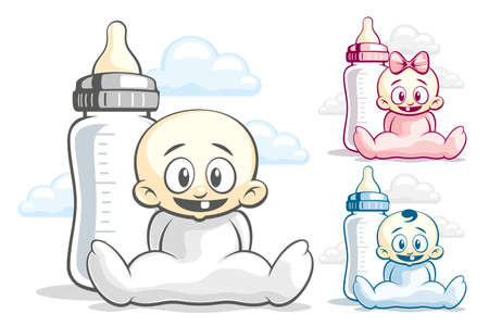 suckling: Cheerful kids in the sliders and feeding bottle Illustration