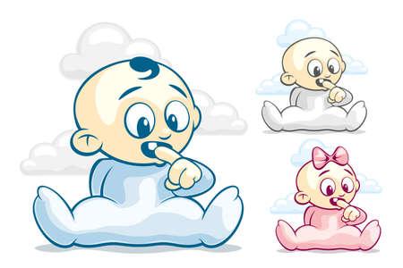 dientes caricatura: El niño corta primeros dientes Vectores