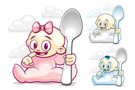 lactancia materna: Los ni�os con grandes cucharas quieren comer Vectores
