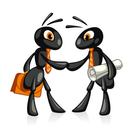 Partnership  Two funny ant shake hands in agreement Vector