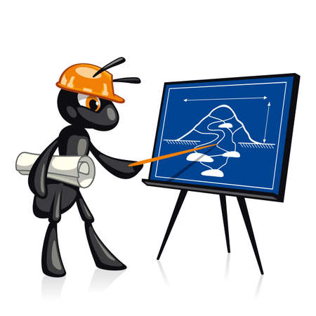 Building Presentation  Funny ant presents a construction project Vector
