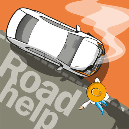 Road Help   Broken car on the road and driver assistance Stock Vector - 21930311