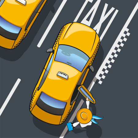 yellow taxi: Taxi  Illustration landing in the yellow city taxi