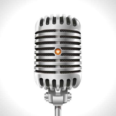 microfono antiguo: Micrófono viejo Ilustración realista de micrófono cromado retro del siglo pasado