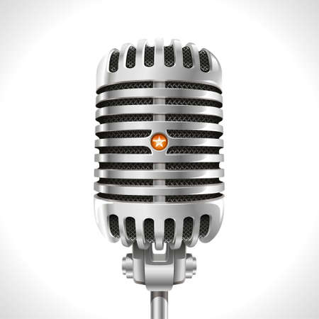 Old Microphone  Realistic illustration of retro chrome microphone of the last century  Ilustração
