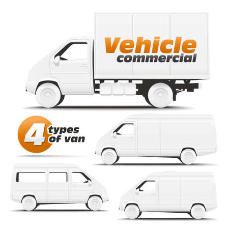 commercial van: Vehicle Commercial  Illustration of types of commercial vehicles side for applying corporate identity  Illustration