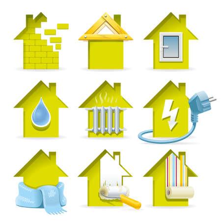 Home Construction Icons Alle fasen van de bouw van een modern huis in de laconieke en ruim iconen