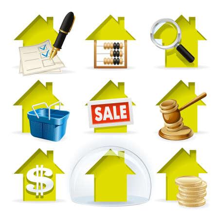 transakcji: Transakcje obrotu nieruchomościami Ilustracja i transakcji na rynku nieruchomości jako zbiór ikon Ilustracja