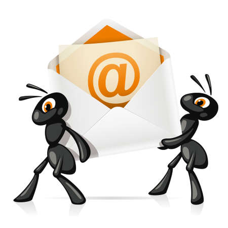 Ants e-Mail  Two black ants have an open e-mail with a message inside  Vector