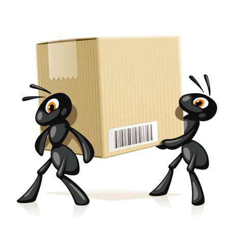 Hormigas Entrega Dos hormigas negras llevan una caja de cartón grande con código de barras