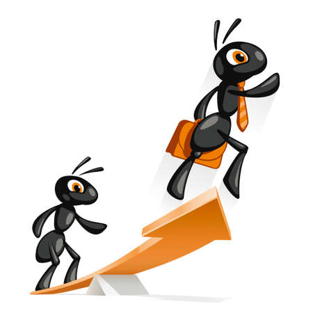 springboard: Ant Jump Up  Ant helps other ants to reach new heights  Illustration