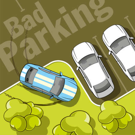 rules of the road: Bad parking  Top view of a car parked on the lawn with trees  Illustration