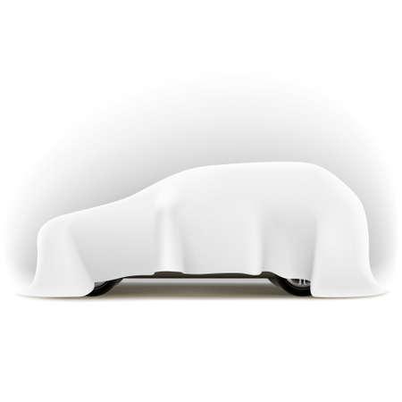 Inconnu Auto Illustration d'une voiture inconnue tout recouvert marque tissu sur fond blanc