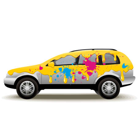 Car Painting  Paint the car in different colors  Vector