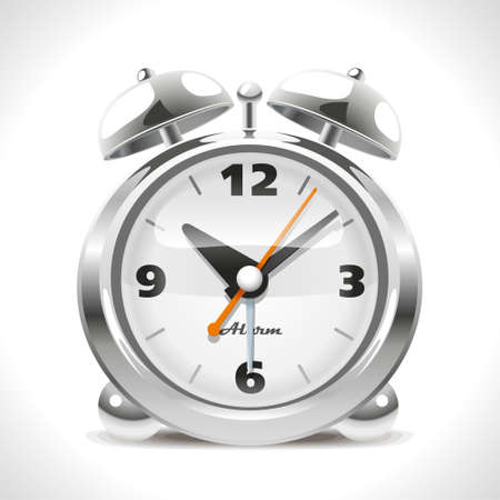 Old Alarm Clock  Illustration of the good old chrome alarm last century  Vector